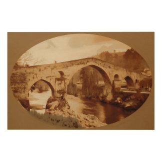 The Old Village Bridge. Wood Canvas