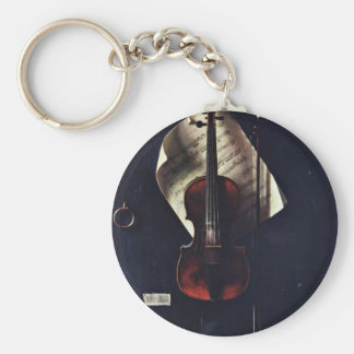 The Old Violin By Harnett William Michael Basic Round Button Keychain