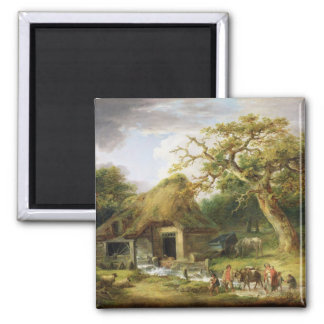 The Old Water Mill, 1790 (oil on canvas) 2 Inch Square Magnet