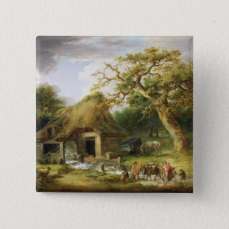 The Old Water Mill, 1790 (oil on canvas) Pinback Button