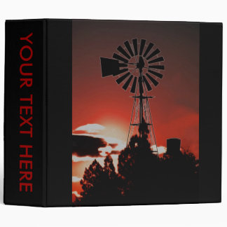 The old windmill at sunset 3 ring binder