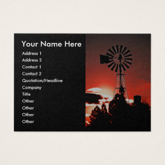 The old windmill at sunset business card