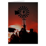 The old windmill at sunset greeting card