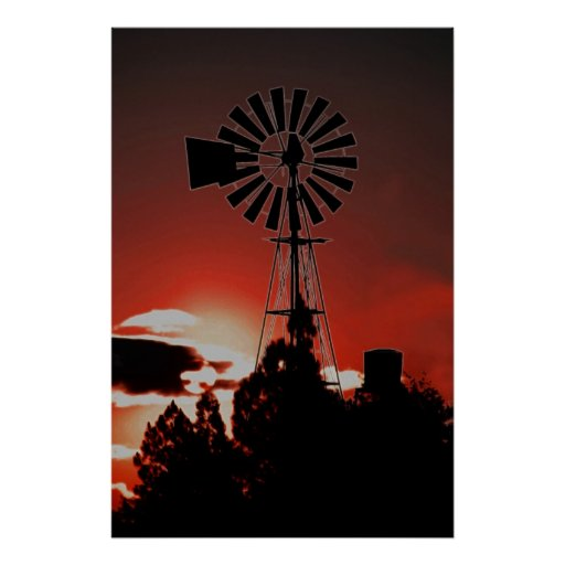 The old windmill at sunset print