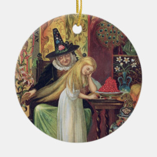 The Old Witch combing Gerda's hair with a golden c Ceramic Ornament