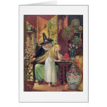 The Old Witch combing Gerda's hair with a golden c Greeting Card