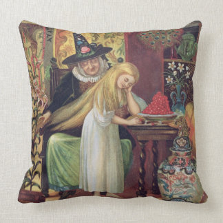 The Old Witch combing Gerda's hair with a golden c Pillow