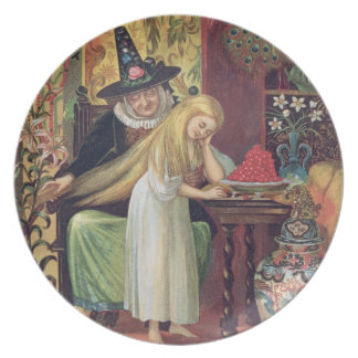 The Old Witch combing Gerda's hair with a golden c Plate