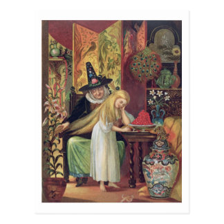 The Old Witch combing Gerda's hair with a golden c Postcard