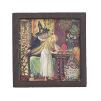 The Old Witch combing Gerda's hair with a golden c Premium Jewelry Box