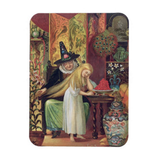 The Old Witch combing Gerda's hair with a golden c Rectangular Magnets