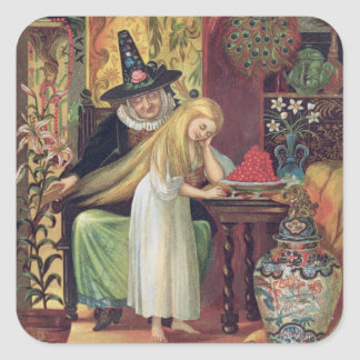 The Old Witch combing Gerda's hair with a golden c Square Sticker