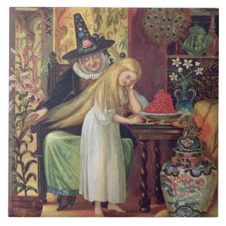 The Old Witch combing Gerda's hair with a golden c Tile