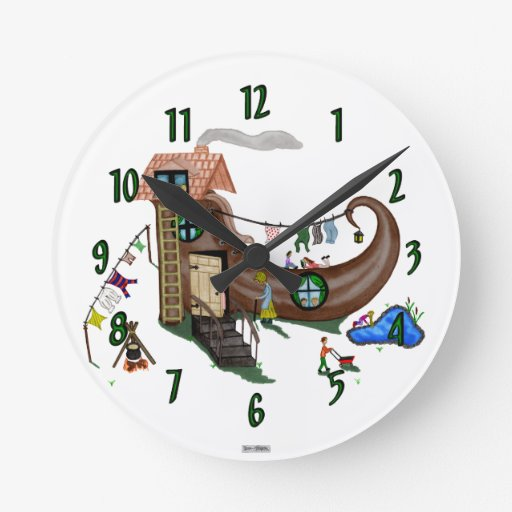 The Old Woman In The Shoe Round Wallclocks