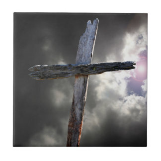 The Old Wooden Cross Small Square Tile