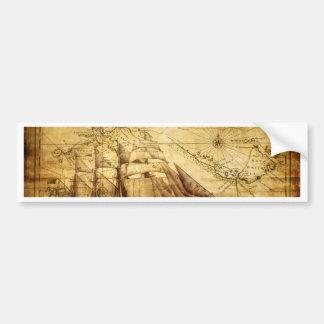 The Oldest World Map Ship Bumper Sticker