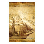 The Oldest World Map Ship Personalized Stationery