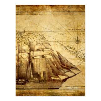 The Oldest World Map Ship Postcard