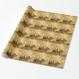 The Oldest World Map Ship Gift Wrap