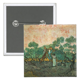 The Olive Pickers, Saint-Remy, 1889 (oil on canvas Pinback Button