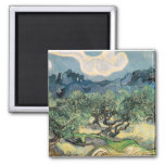 the olive trees,1889, Vincent van Gogh 2 Inch Square Magnet