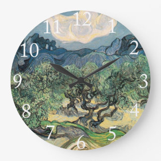 The Olive Trees, Vincent van Gogh Large Clock