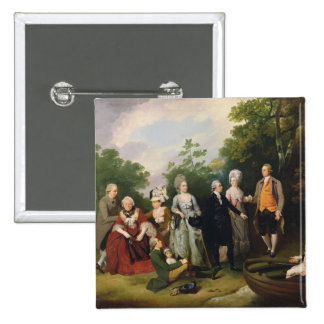 The Oliver and Ward Families in a Garden, c.1788 ( Pinback Button