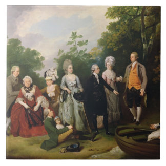 The Oliver and Ward Families in a Garden, c.1788 ( Tile
