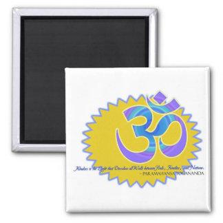 The Om Aum Symbol Paramahansa Yogananda Quote 2 Inch Square Magnet