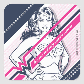 The One And Only Wonder Woman' Retro Graphic Square Sticker