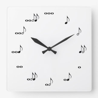 The One Of A Kind Square Music Note Clock White