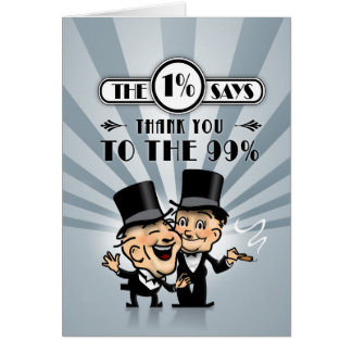 The One Percent Says Thank You Card