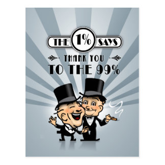 The One Percent Says Thank You Postcard