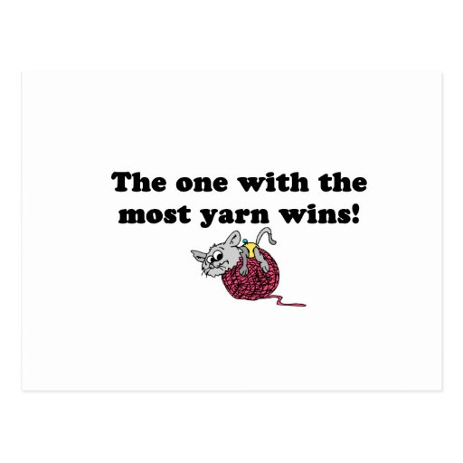 The One With The Most Yarn Wins Postcard