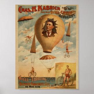 The Only Bike-Chute Aeronaut, 'Chas.H. Kabrich' Poster