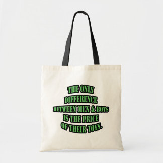 The only difference between men and boys is tote bag