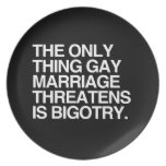 THE ONLY THING GAY MARRIAGE THREATENS IS BIGOTRY PLATE