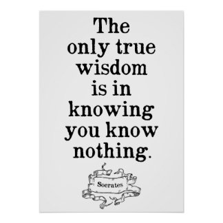 The only true wisdom - Socrates Quote Poster