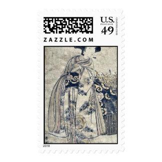 The onnagata Onoe Tamizo by Katsukawa, Shunko Ukiy Stamp
