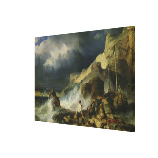 The Onslaught of the Smugglers, c.1837 Canvas Print