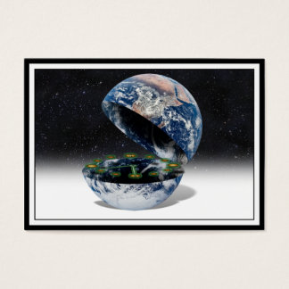 The Open Earth With Clock Business Card