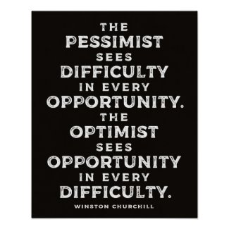 'The Optimist' Powerful Winston Churchill Quote Poster