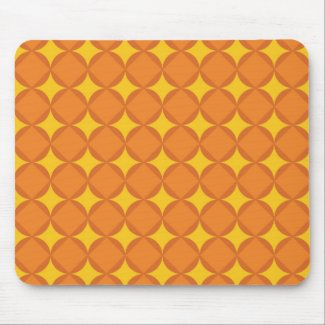 The orange 70 ' s year styling circle mouse pad
