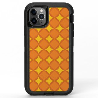 The Orange 70's year styling circle OtterBox Defender iPhone 11 Pro Max Case