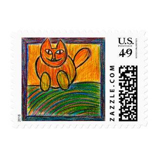 the orange cat postage