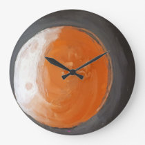 The Orange Planet Large Clock