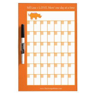 The Orange Rhino 30-Day Calendar White Board