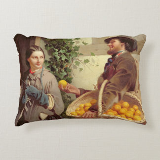 The Orange Seller (oil on canvas) Accent Pillow