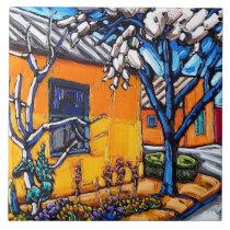 "The ""Orange Spring Garden"" decorative tile"