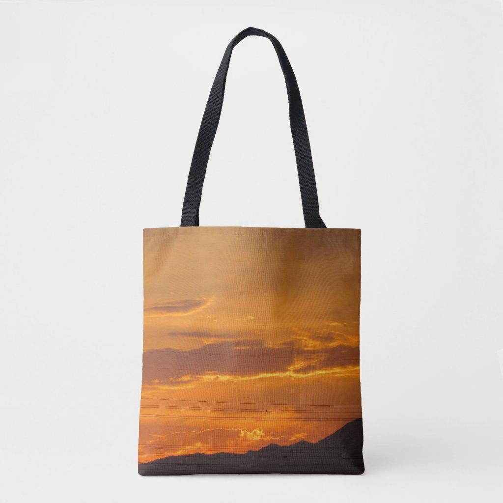 The Orange Sunset Mountain Tote Bag